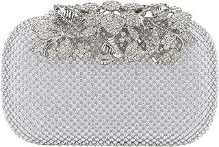 Fawziya Flower Purse With Rhinestones Velvet Clutch Evening Bags