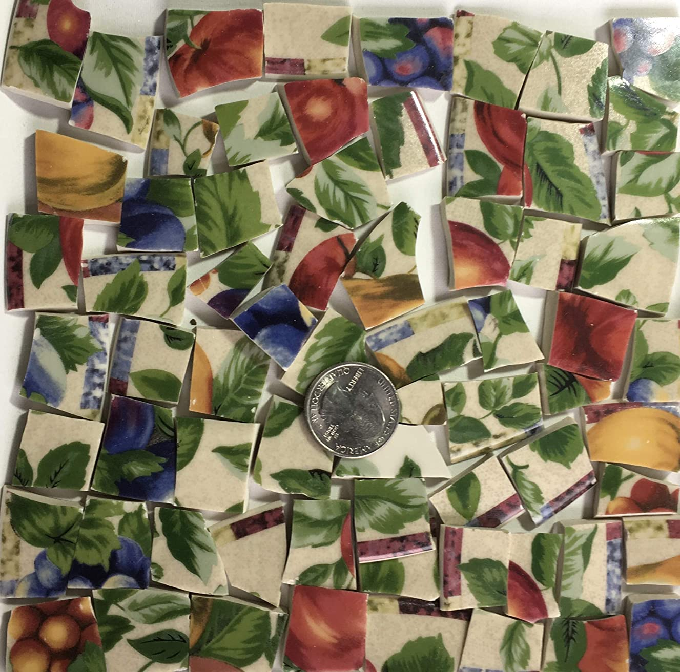 Mosaic Art & Craft Supply ~ Colorful Fruit & Leaves on Beige Tiles (A660)