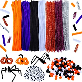 350 Pieces Halloween Chenille Stem Pipe Cleaners, 200 Pieces Pom Poms and 50 Pieces Wiggle Eyes for Halloween Party Supplies Craft Decoration