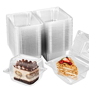 Oomcu 60 Pack Clear Portable Plastic Hinged Food Container,Disposable Clamshell Takeout Trays Fruit Salads Hamburger Sandwiches Cupcake Holders Cases Boxes Containers with Lids(5.35