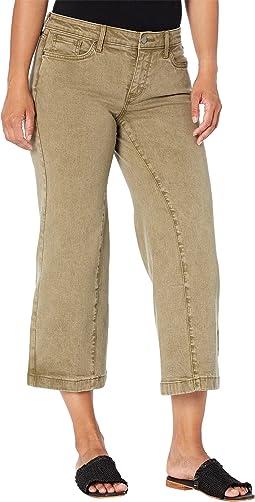 Petite Teresa Wide Leg Ankle Jeans in Marisol Moss