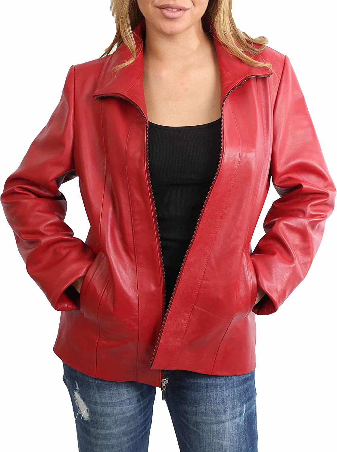 A1 FASHION GOODS Womens Classic Fitted Zip Up Biker Real Leather Jacket Nicole Red