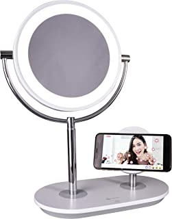 OttLite Wireless Charging LED Makeup Mirror - Illuminated Magnifying Light with USB Port