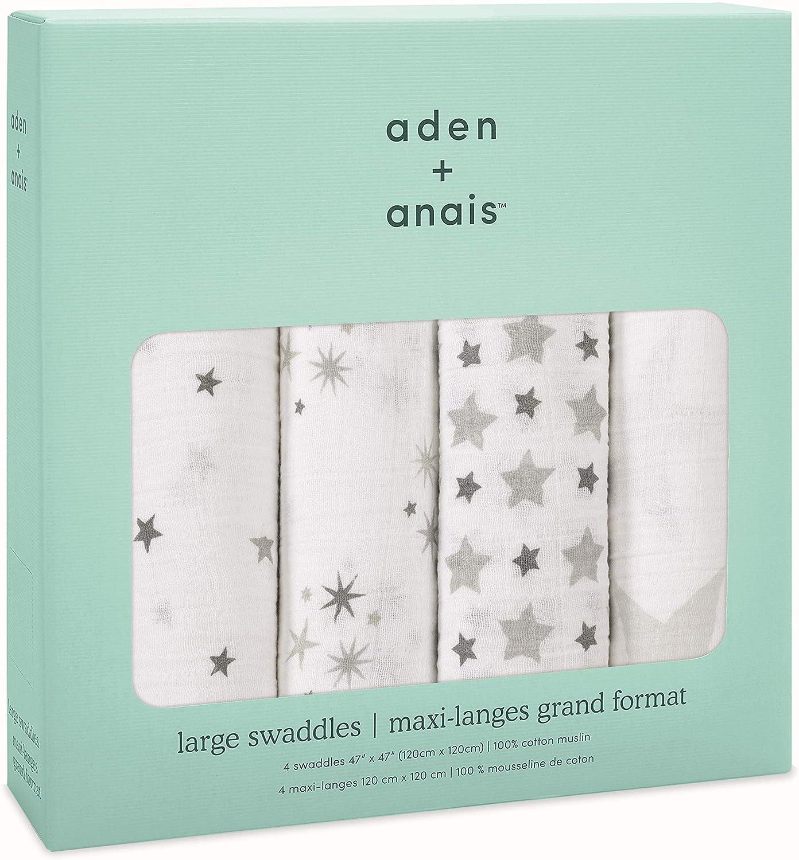 aden + anais Set de 4 Maxi-Langes Grand Format en Mousseline de Coton Rising Star Twinkle