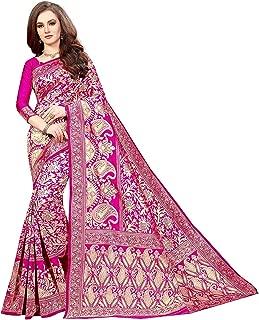 Shiroya Brothers Women's Banarasi Silk Saree with Blouse Piece (Banarasi_Free Size) Pink
