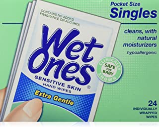 WET ONES Sensitive Skin Hand Wipes, Singles Extra Gentle Fragrance & Alcohol Free 24 ea (Pack of 5)