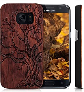 Wood Cover for Galaxy S7 Edge SM-G9350 Case,YUANQIAN Print Hard Cover Unique Handmade Natural Floral Wood Pattern Slim Wooden Case for Samsung Galaxy S7 Edge [G9350](Dead Tree)