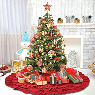 DegGod Red Christmas Tree Skirt, 50 Inches Burlap Natural Ruffled Xmas Tree Skirts Base Mat Christmas Home Party Decoratio...