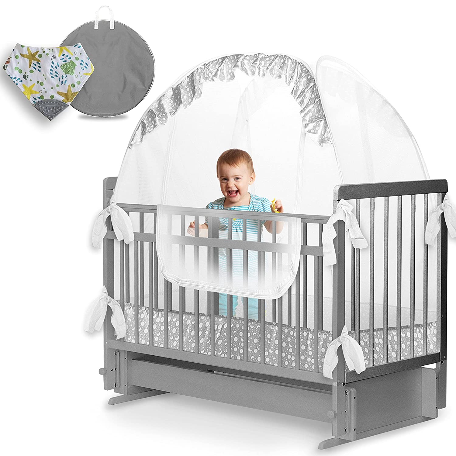 LA CHUPETA Crib Tent - Baby Mosquito Net & Crib Cover to Keep Baby from Climbing Out | Safety Pop Up Canopy, Crib Net to Keep Baby in and Crib Tent to Protect Your Baby from Insect Bites
