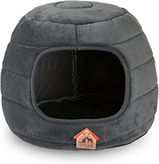 Hollypet Coral Velvet Self-Warming 2 in 1 Foldable Cave Shape High Elastic Foam Pet Cat Bed for Cats and Small Dogs
