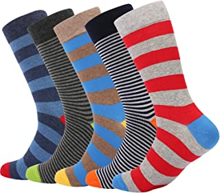Men's Dress Socks Colorful Pattern Combed Cotton Casual Funky Crew Socks