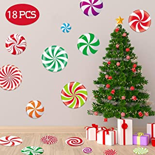 Happy Storm 18Pcs Peppermint Floor Decals Stickers for Christmas Decoration Candy Party Wall Decals Stickers Xmas Candy Land Party Decor and Supplies