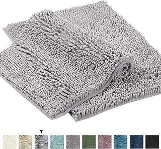 Grey Rugs for Bathroom Bath Mat Super Soft Bath Rug for Bathrooms Slip-Resistant Shag Chenille Bath Rugs Chenille Plush Rugs for Powder Room Rugs for Entryway (Ash Gray, 17
