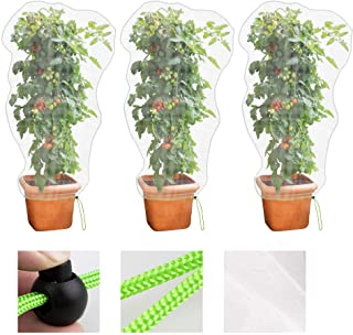 MR FIVE 3 PCS Large Drawstring Plant Covers,Bird Barrier Netting Mesh with Drawstring,Reusable Garden Netting Mesh with Dr...