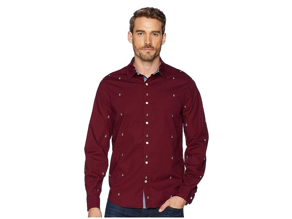 Nautica Long Sleeve Multicolor Anchor Print Woven Shirt (Zinfandel) Men