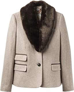 Joules Wiscombe Faux Fur Collar Womens Tweed Jackets
