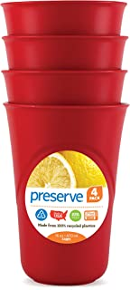 Preserve Everyday 16 Ounce Cups, Set of 4, Pepper Red