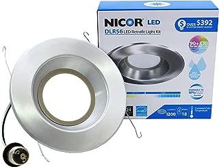 NICOR Lighting 5/6-Inch Dimmable 1200-Lumen 4000K LED Downlight Retrofit Kit for Recessed Housings, Nickel Trim (DLR56-3012-120-4K-NK)