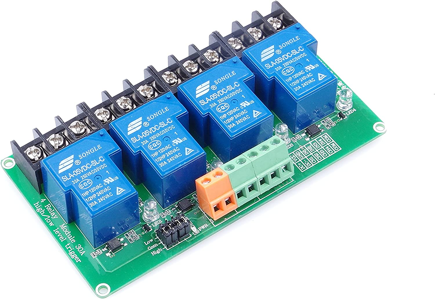 KNACRO 4-Channel DC 5V Relay Module High Low Level Triggering Optocoupler Isolation Load 30A DC 30V / AC 250V for PLC Automation Control, Industrial System Control, Arduino (DC 5V)-Pack of 25Pcs
