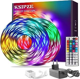 Ksipze Led Strip 20m Rgb Led Lichterkette Streifen Licht mit Fernbedienung led Beleuchtung Leiste Band für Schrankdeko, Pa...