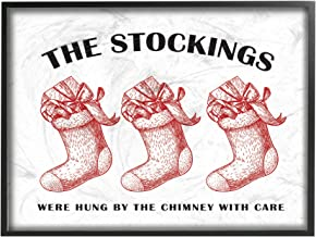 The Stupell Home Décor Collection Christmas The Stockings Vintage Icons Framed Giclee Wall Art, 16 x 20 Inches