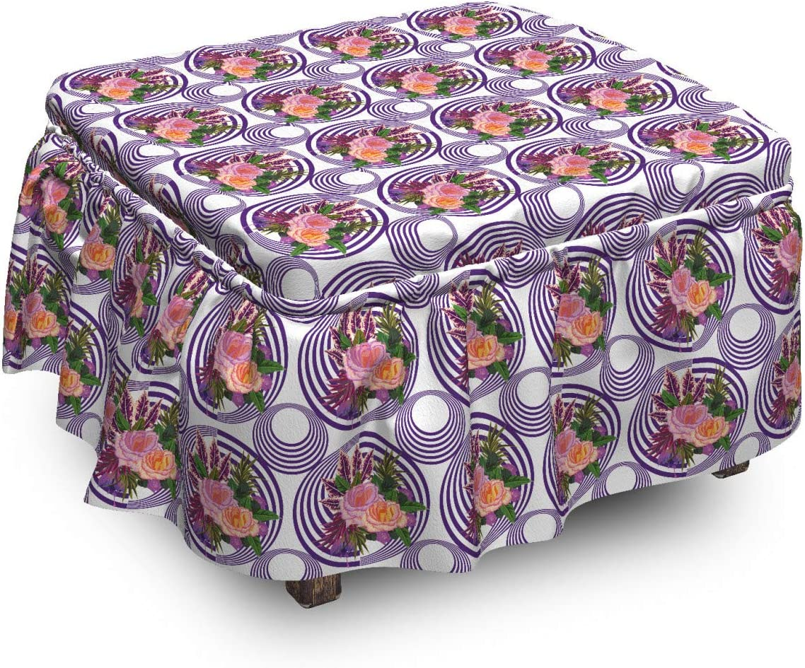 Popular overseas Lunarable Floral Ottoman Cover Bouquets Art Shapes with Piec Superior 2