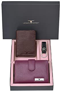 Urban Forest Skylar Brown/Lilac Leather Wallets & Keyring Combo Gift Set - Karvachauth Special Gift Box