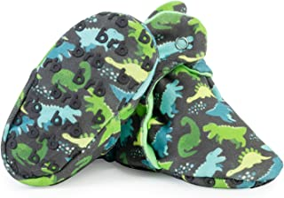 Lightweight Organic Cotton Baby Booties - Grippers, 3 Snaps - No Sock Bootie for Newborn or Infant Boys & Girls