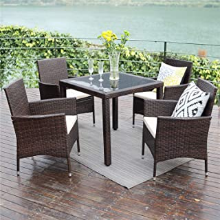 Wisteria Lane Outdoor Patio Dining Table Set, 5 Piece Glassed Dining Table Chairs Sectional Furniture Conversation Set Cushioned Garden Lawn Bar Furniture,Brown