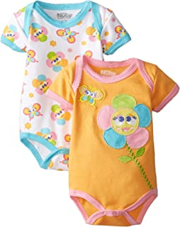 Nuby Girls Newborn 2 Pack Bodysuit Baby Flower