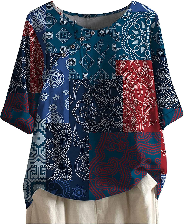 Women's Casual Shirt Cotton Linen Blouse Plus Size O-Neck Short Sleeve Vintage Flower Printing Loose T Shirt Tops