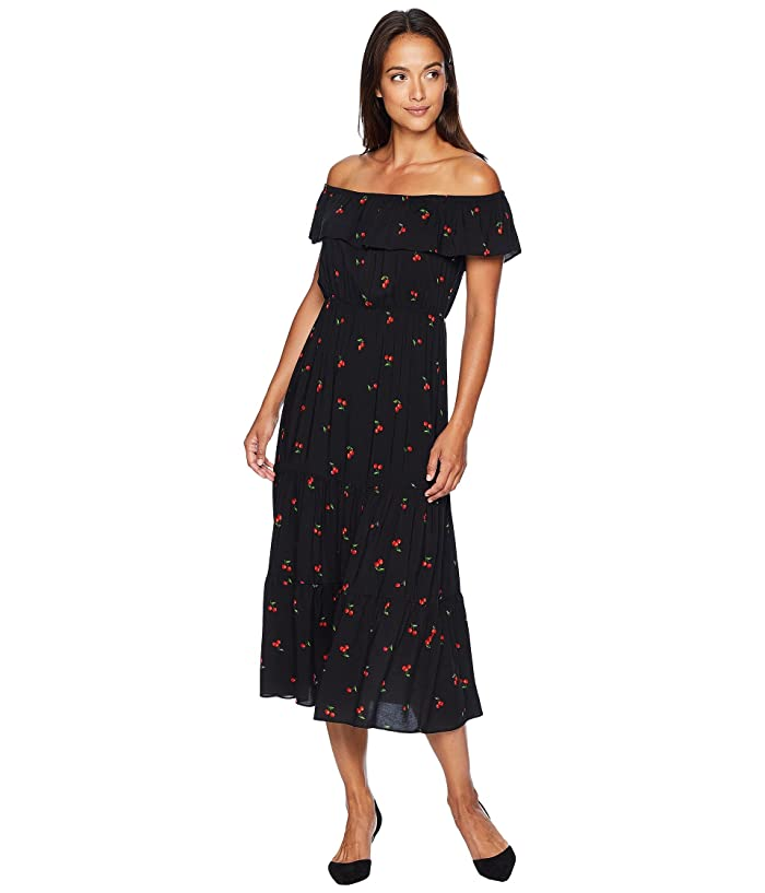 American Rose Lillie Off the Shoulder Cherry Dress (Black/Red) Women