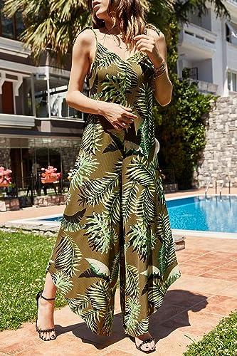 XGDLYQ Femmes Khaki Pattern Jumpsuit Robe 9YXK5-41203-09