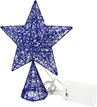 CVHOMEDECO. Blue Tree Top Star with Warm White LED Lights and Timer for Christmas Ornaments and Holiday Seasonal Décor, 8-...