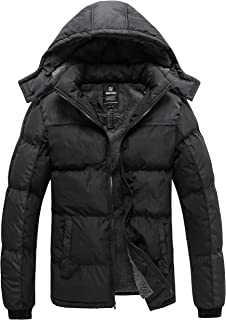 Men's Puffer Jacket Thicken Padded Winter Coat with Removable Hood