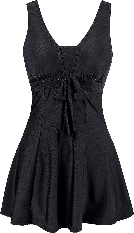 Wantdo Women's Halter Shaping Body One Piece Swimsuit Plus Size Swimwear Black 24