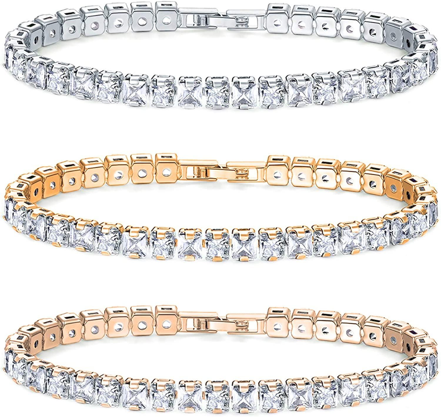 Savlano 3 Pack White Yellow NEW before selling Rose 14K Bombing new work Plated Zirconi Cubic Gold