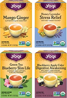 Yogi Tea - Iced Tea Variety Pack Sampler (4 Pack) - Mango Ginger, Green Tea Blueberry Slim Life, Blackberry Apple Cider Di...