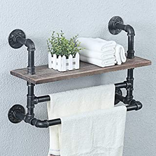 Weven Industrial Pipe Bathroom Shelves Wall Mounted With 2 Towel Bar,Metal Floating Shelves Towel Holder,Wall Shelf Over T...