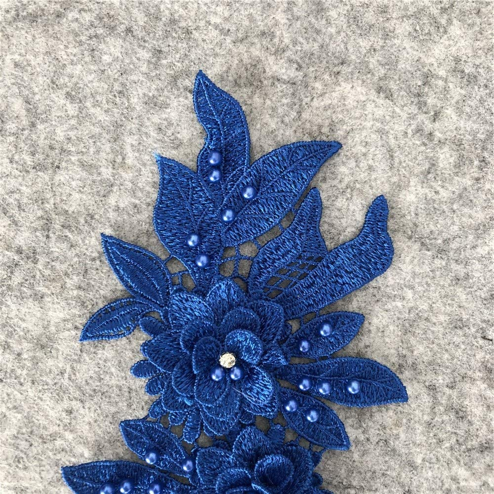 2pcs Beautiful Flowers Embroidered Iron on Applique Patches Black B
