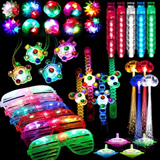 74 Pcs Light Up Toy Party Favors Glow in the Dark Party Supplies for Kid Adults with 44 Finger Lights 8 Jelly Rings 6 Glas...