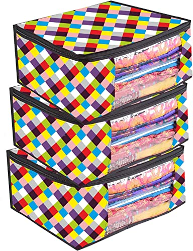 Darcen Non Woven Saree Cover Storage Bags for Clothes with primum Quality Combo Offer Saree Organizer for Wardrobe Organizers for Clothes Organizers for Wardrobe Pack of 3 Design 13 Today Offer