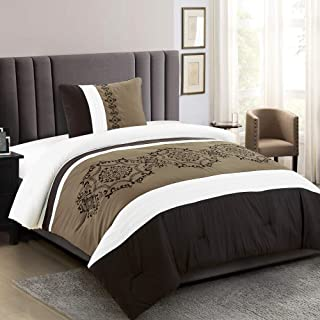 2 Pieces Bedding Ensemble Brown Taupe Victorian Print Luxury Embroidery Comforter Set Twin Size Bedding-Elizabeth (Twin)