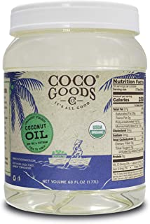 CocoGoods Co. Vietnam Single-Origin Organic Extra Virgin Coconut Oil, Cold-Pressed (60 fl oz) - Gluten-free, Non-GMO, No Cholesterol