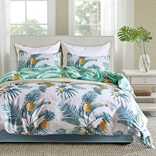 TanNicoor 3 Pieces Pineapple Duvet Cover Set, Lightweight Microfiber Reversible Printing Bedding Set, with Zipper Closure, Pineapple and Tropical Trees Printed Pattern Design- King Size