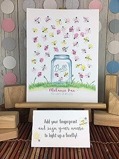 Girl`s Mason Jar Themed Baby Shower Fingerprint Picture, Firefly Baby Shower ideas, Fingerprint Guest Sign In Poster