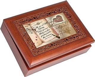 Cottage Garden Happy 35th Anniversary Woodgrain Inlay Jewelry Music Box Plays You Light Up My Life