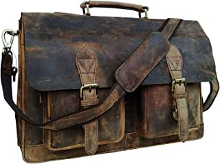 genuine Retro Buffalo Hunter Leather Laptop Messenger Bag Office Briefcase College Bag Leather Bag for Men and Women (18 Inch)