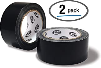 Black Duct Tape, 2 Pack, Heavy Duty Duct Tape by Better Office Products, 7.3mil, 1.88 Inch x 30 Yards Per Roll, Easy Tear, 2 Pack, Black