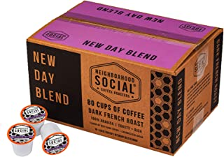 Neighborhood Social, New Day Blend Dark French Roast Gourmet Coffee, 80 count Single Serve Cups